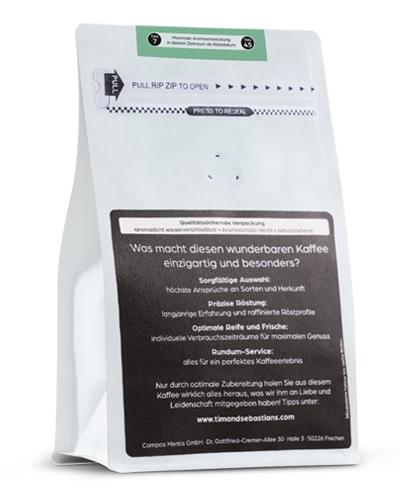 Verpackungsrückseite Tim und Sebastians Vollautomatkaffee Pauli Kaffeebohnen